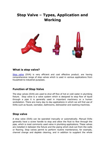 Stop valve types, application and working by Maniks - issuu