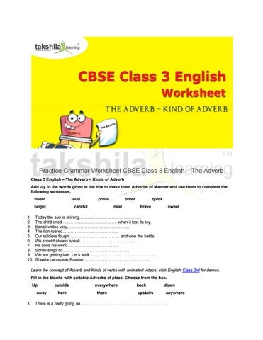 Practice Grammar Worksheet For Cbse Class 3 English The Adverb By Takshila Learning Online Classes Issuu