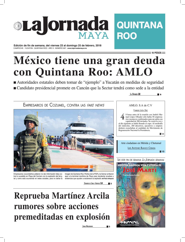 9539c8b52 La jornada maya miércoles 23 de febrero de 2018 by La Jornada Maya - issuu