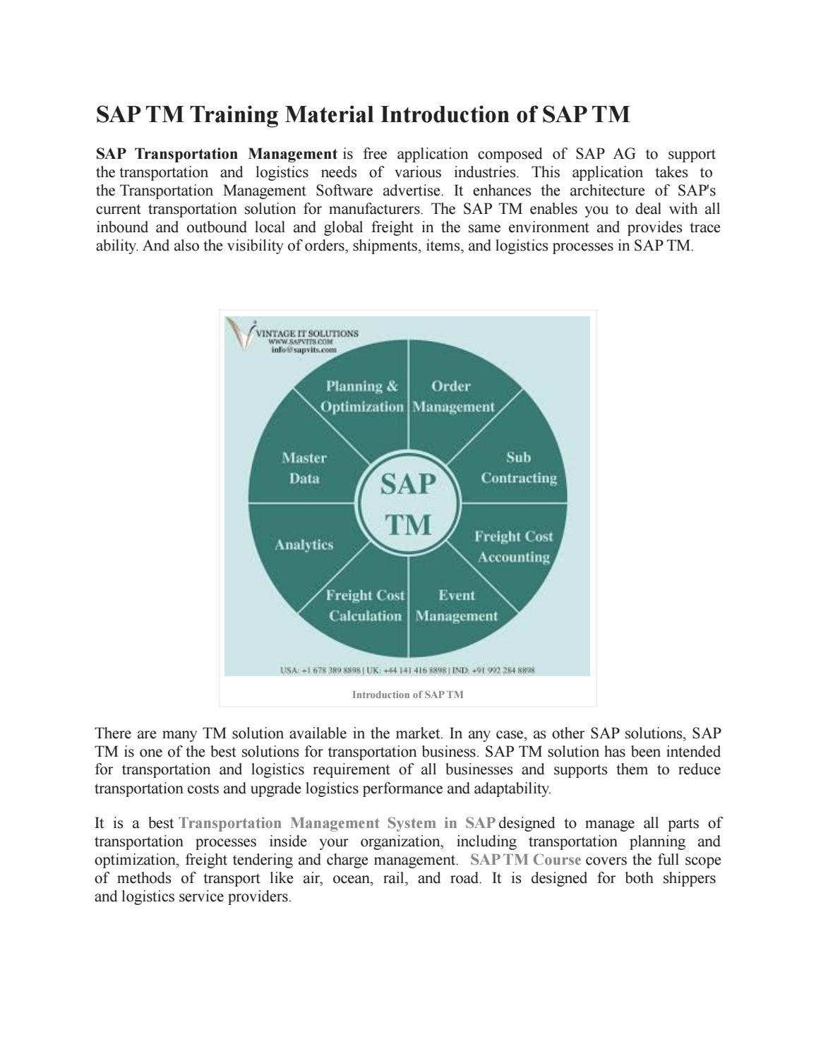SAP Transportation Management PPT by amrutasapvits - issuu