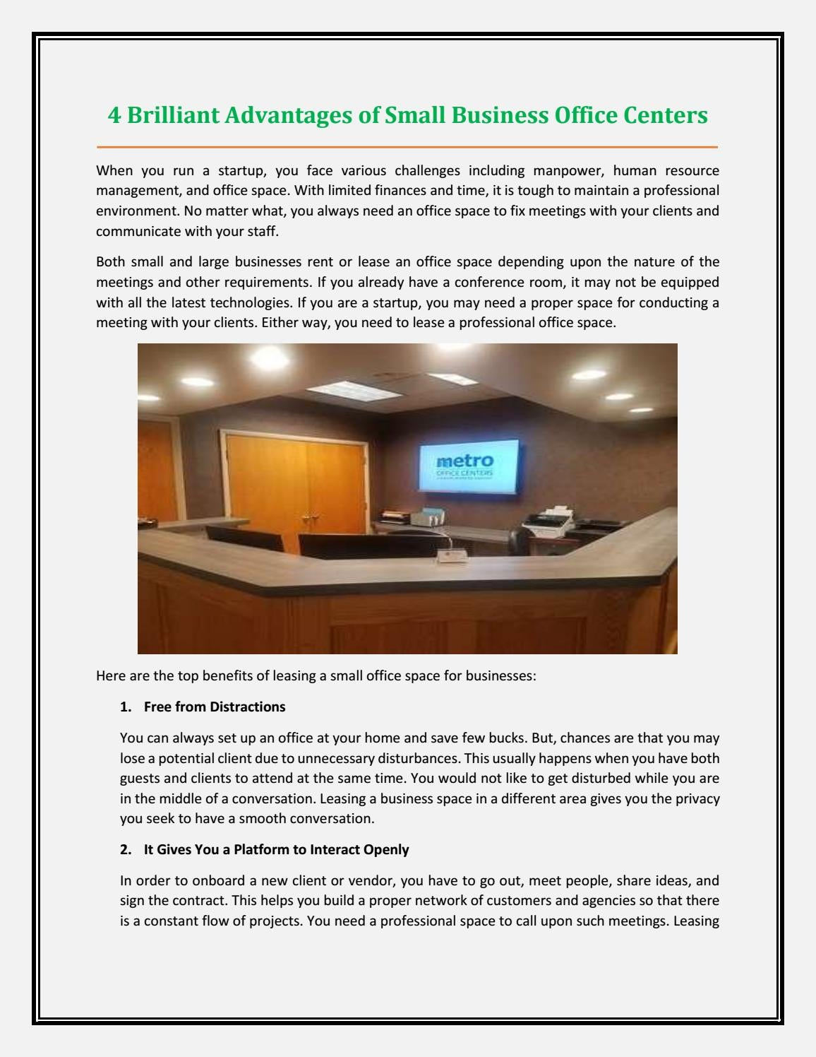 4 Brilliant Advantages Of Small Business Office Centers By Metro Office Centers Issuu