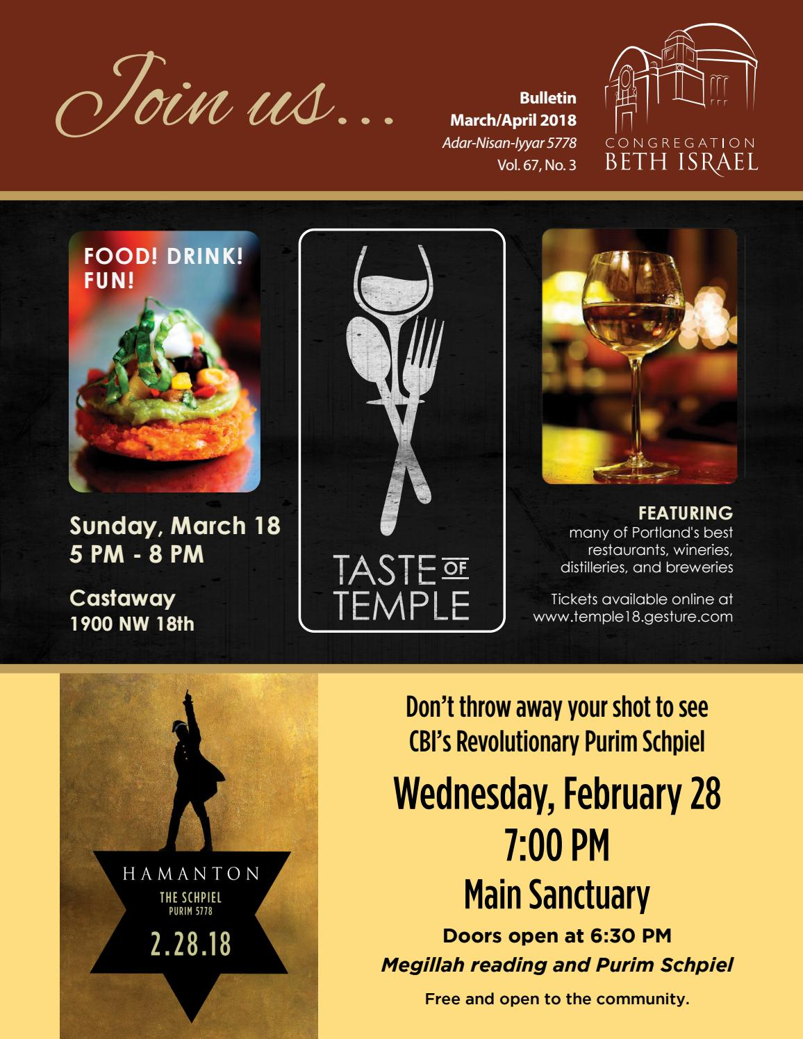 March/April 2018 Bulletin - Congregation Beth Israel, Portland ...