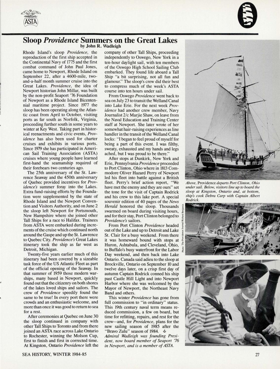 Sea History 034 - Winter 1984-1985 by National Maritime