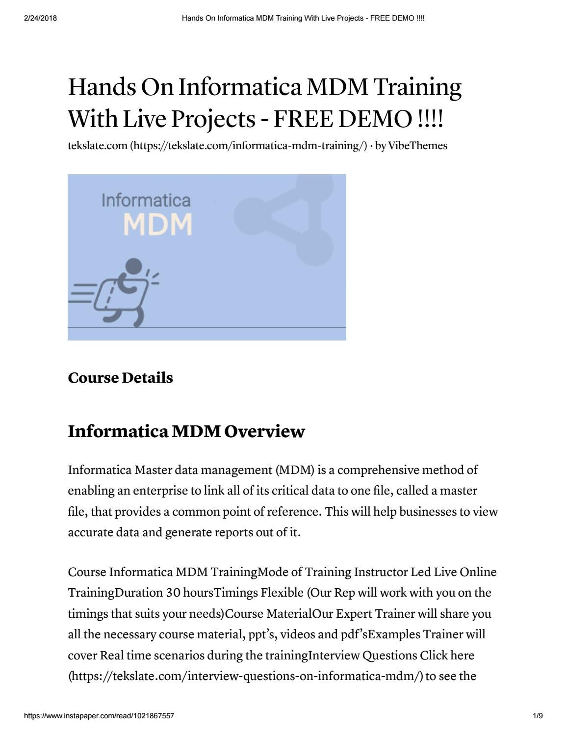 informatica mdm training with live projects free demo