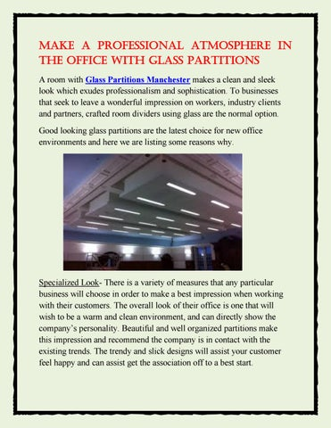 Make a professional atmosphere in the office with glass