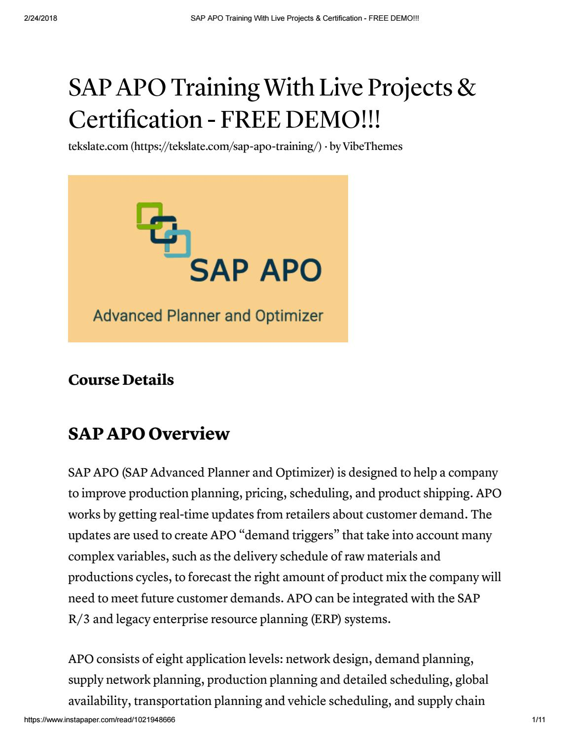 Sap apo training with live projects & certification free