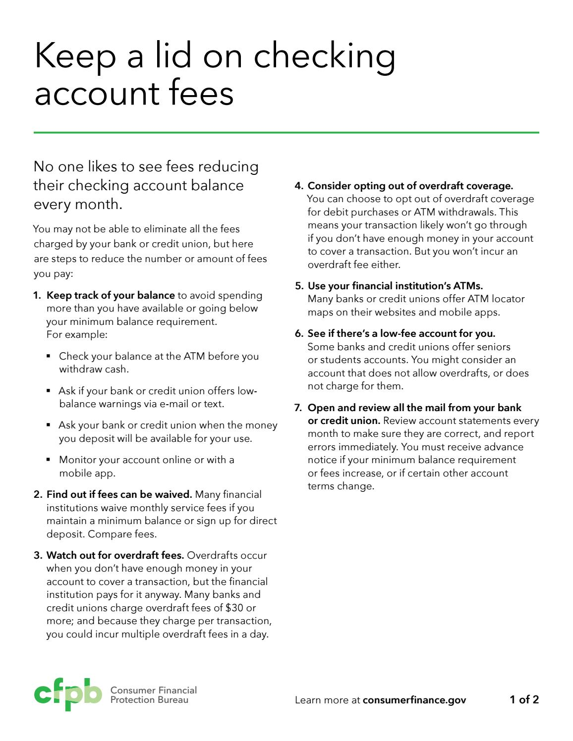 Keeping a Lid on Checking Account Fees by HHC, 807th MC(DS) - issuu
