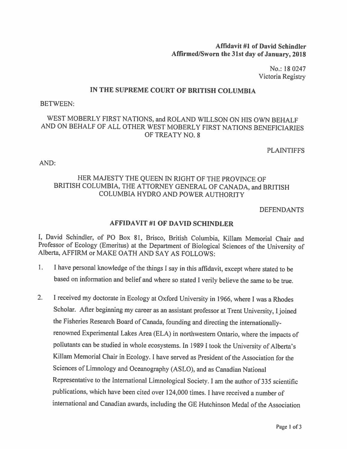 Affidavit 1 Of David Schindler By Sagelegal