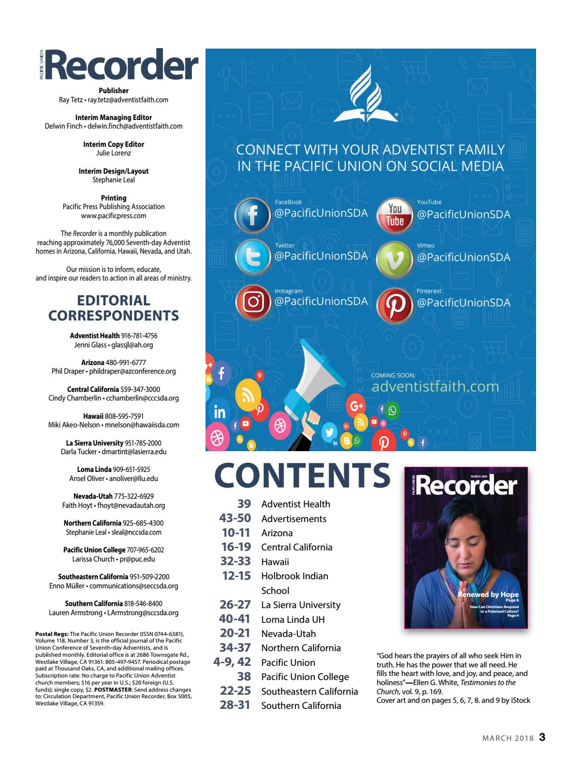 Pacific Union Recorder - March 2018 by Pacific Union