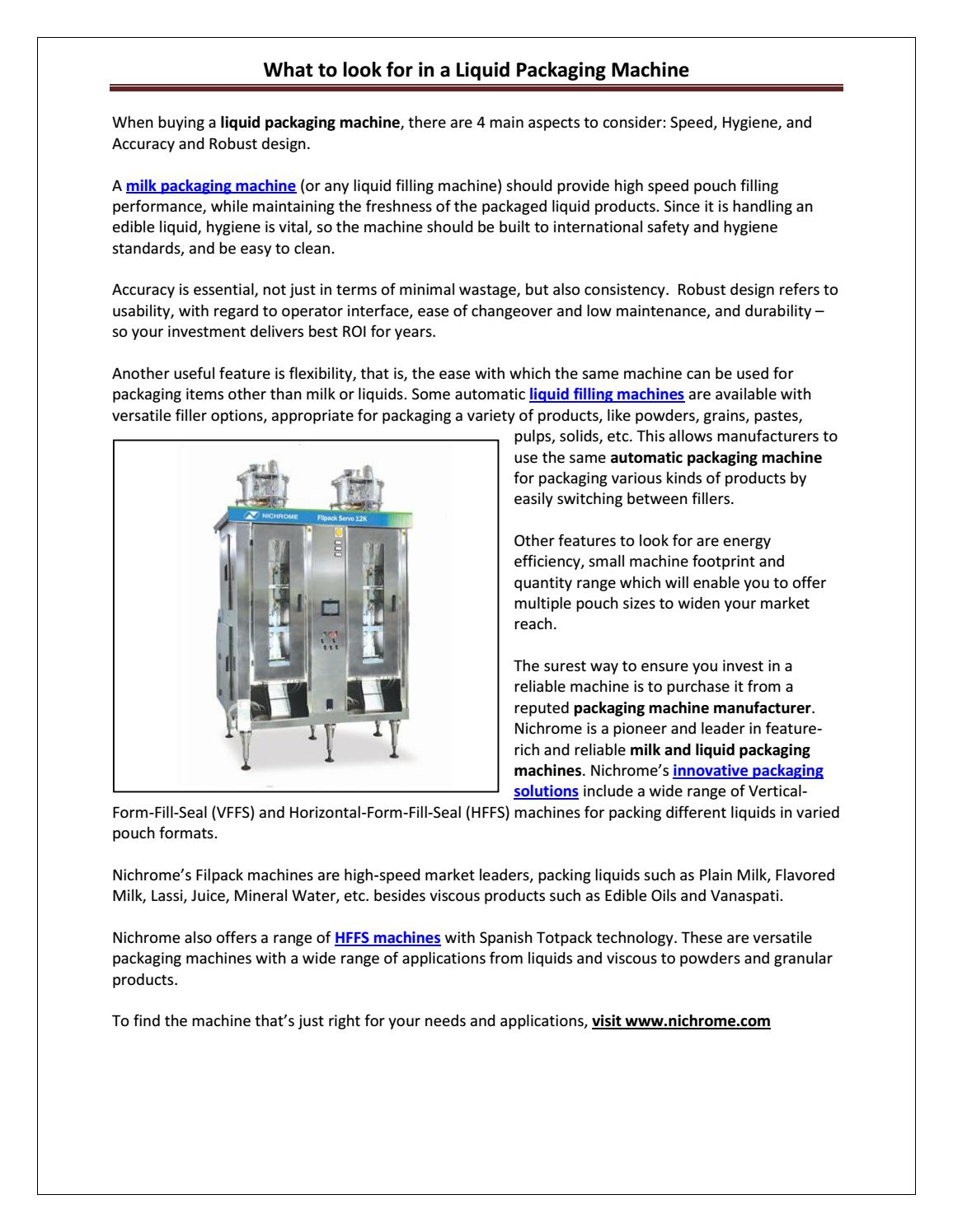 What to look for in a liquid packaging machine by Nichrome