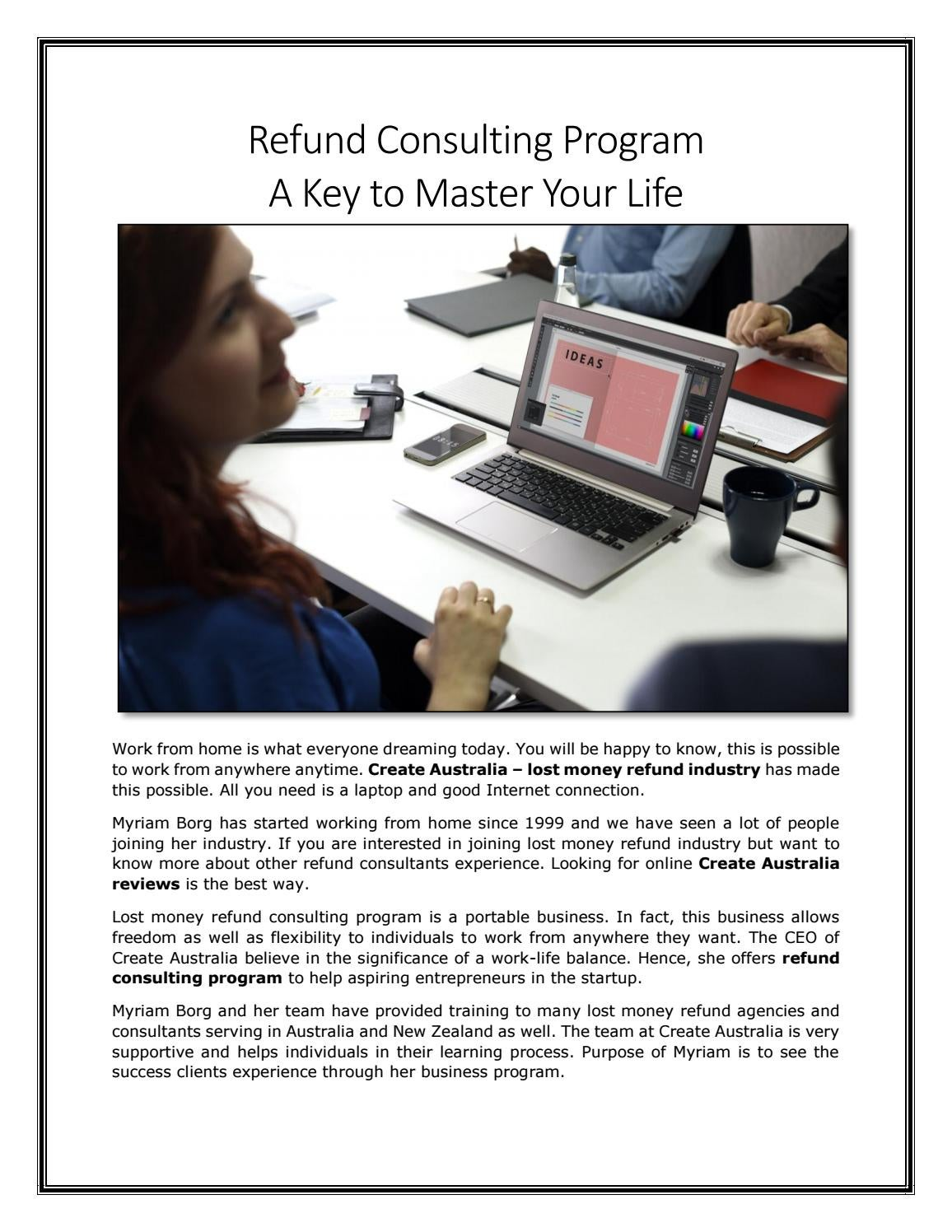 Refund Consulting Program – A Key to Master Your Life by Create ...