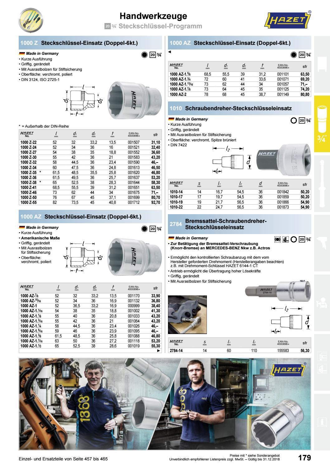 Hazet 1000Z-46 Doppel-6Kt.-Steckschl/üssel-Einsatz