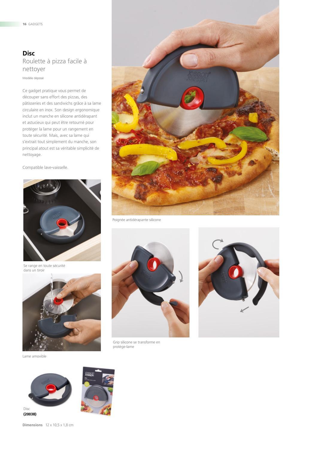 Joseph Joseph Disc facile à nettoyer Roulette pizza gris rouge