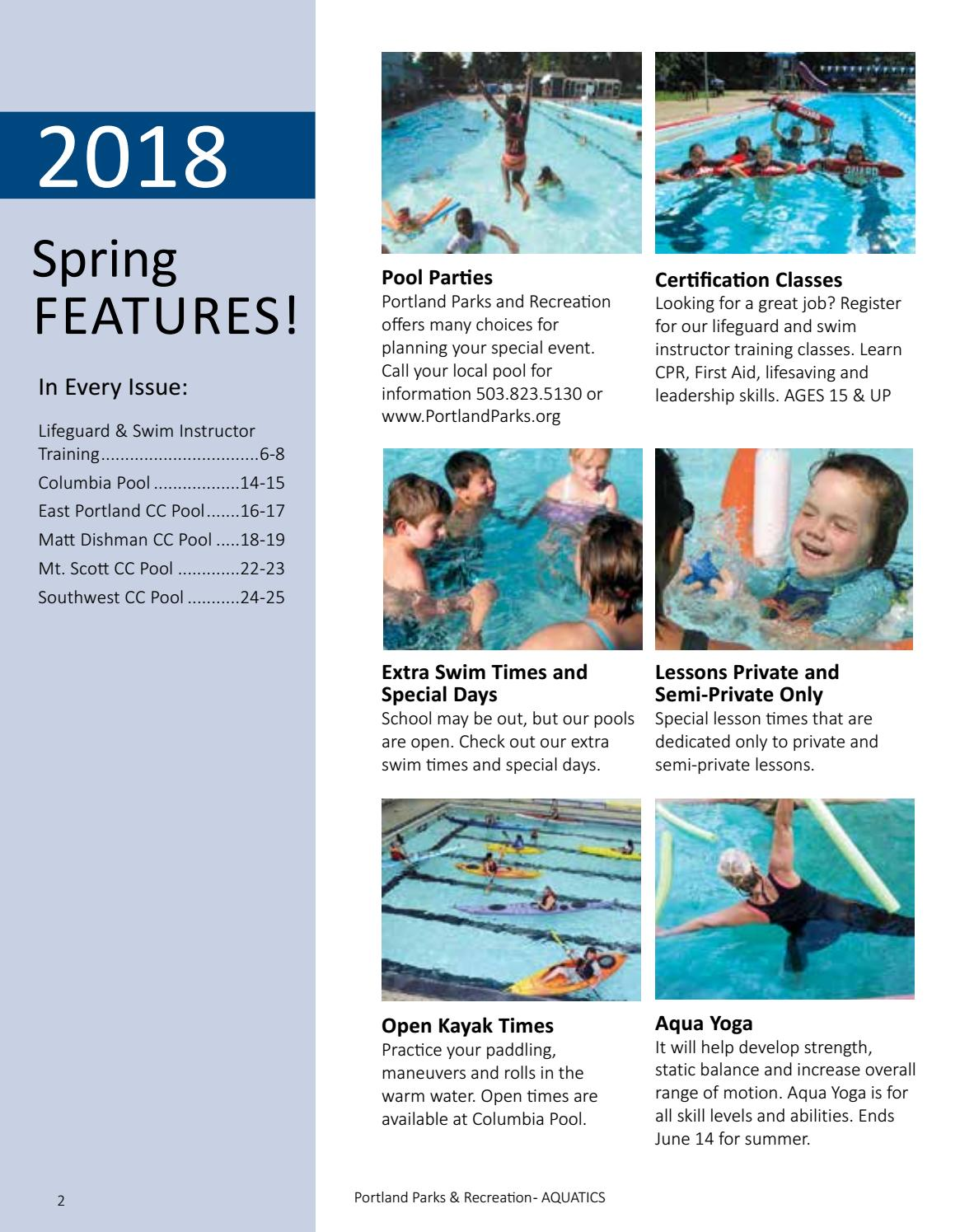 Aquatics Program Spring Activities 2018 By Portland Parks