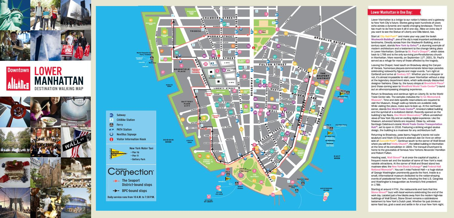 Lower Manhattan Destination Walking Map by Alliance for Downtown New