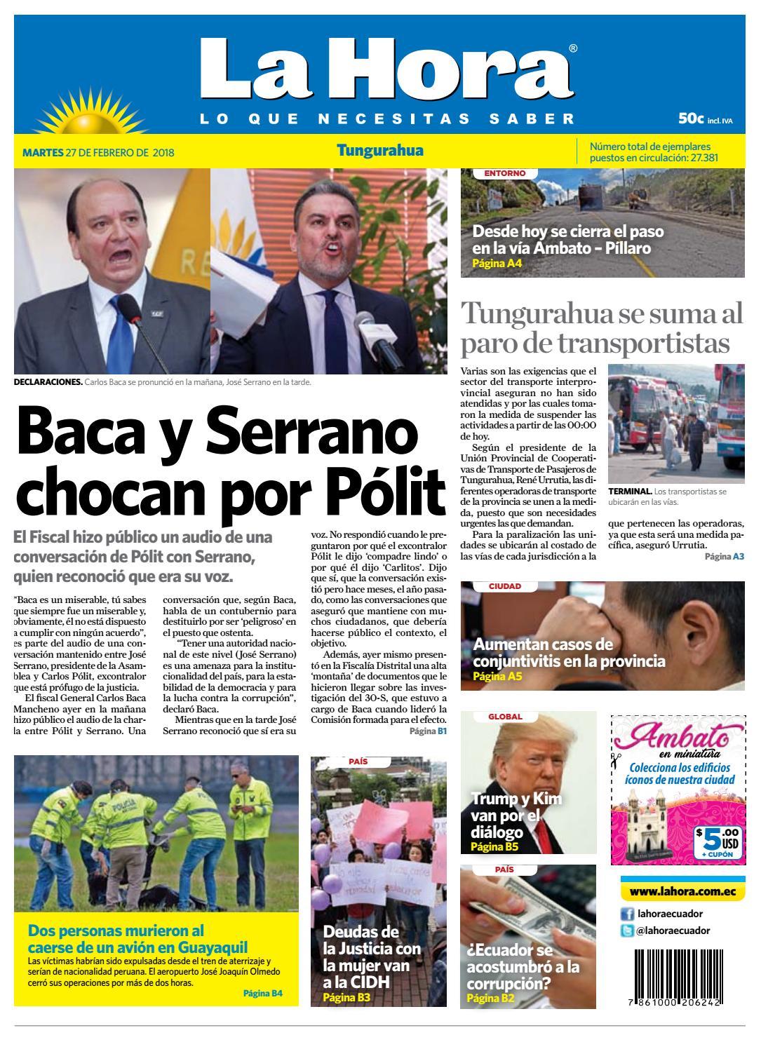 Tungurahua 27 de febrero de 2018 by Diario La Hora Ecuador - issuu