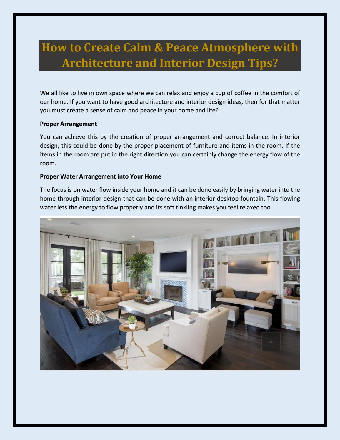 How to create calm peace atmosphere with architecture and