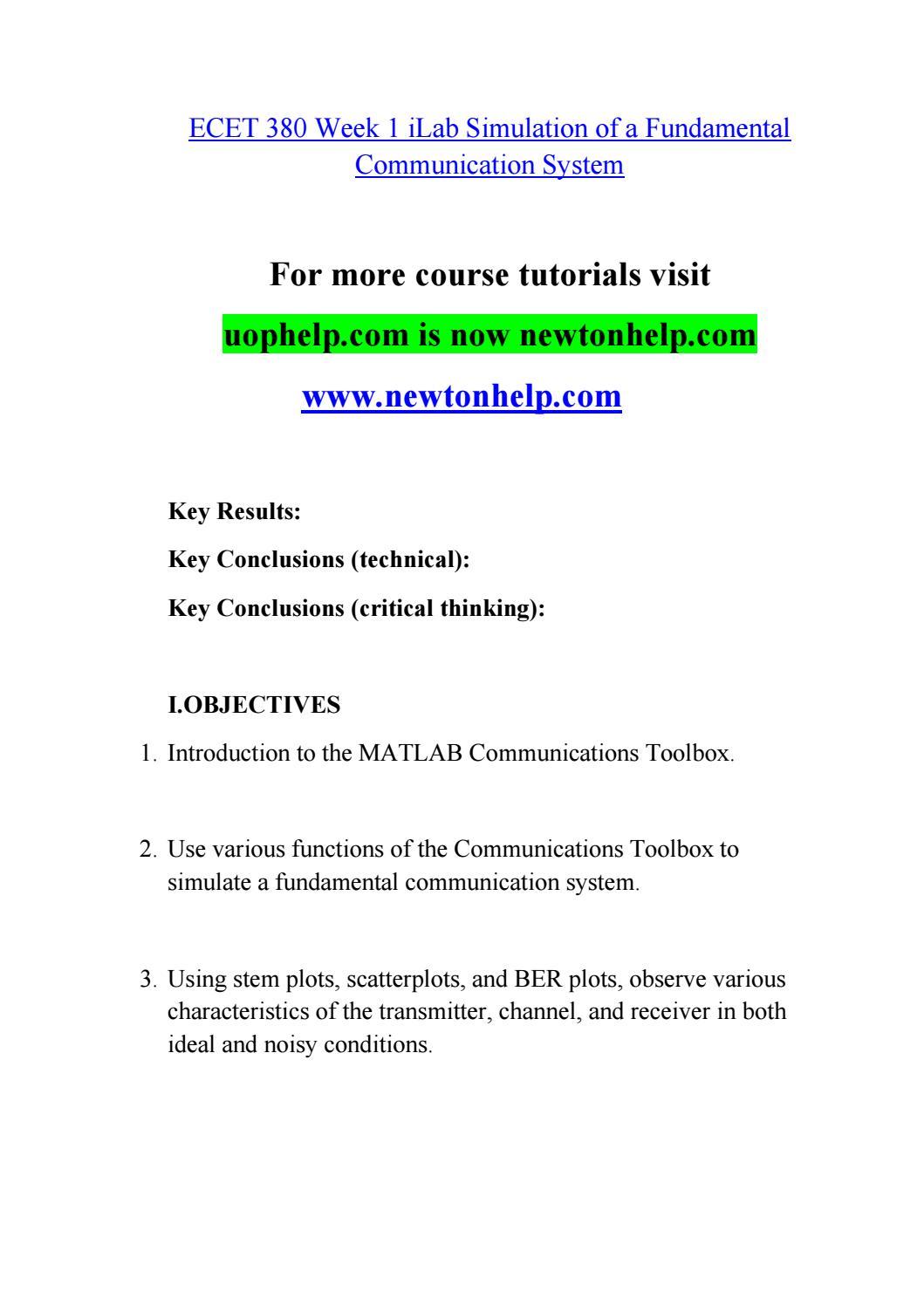 ECET 380 Seek Your Dream /newtonhelp com by thin kmorewo