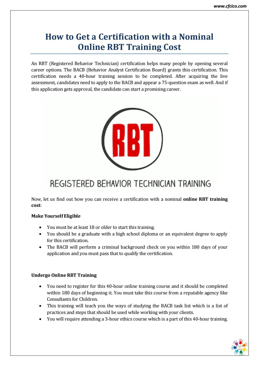 Online Rbt Training Cost Cfcico By Cfcico Issuu