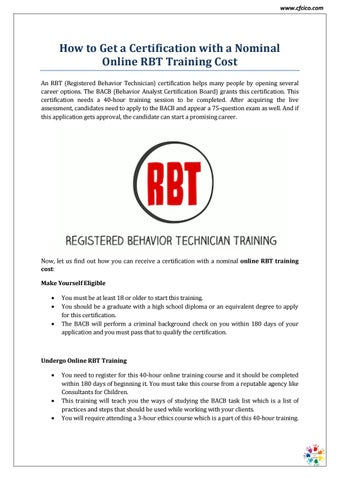 Online RBT Training Cost - CFCICO by CFCICO - issuu