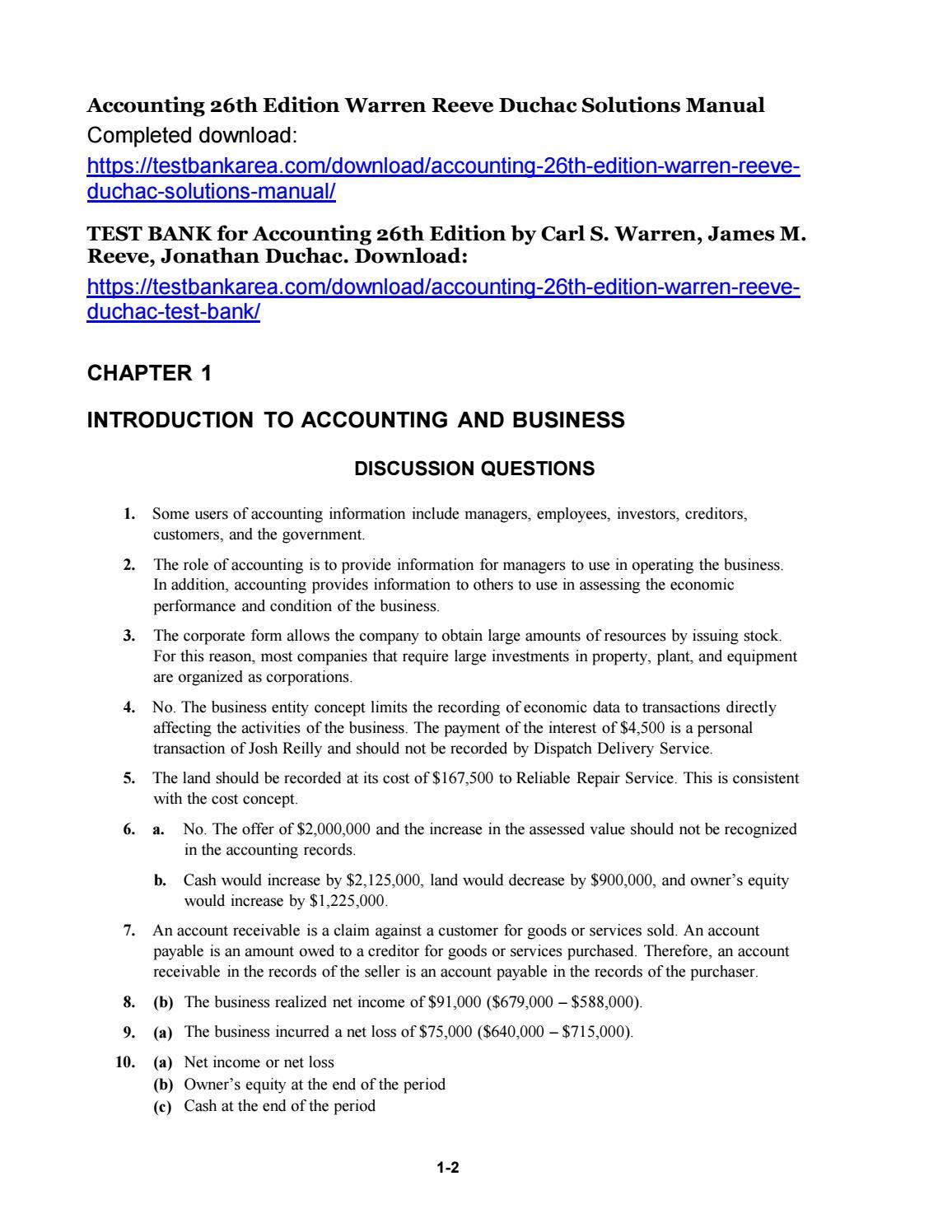 Accounting 26th edition warren reeve duchac solutions manual by Brigham223  - issuu