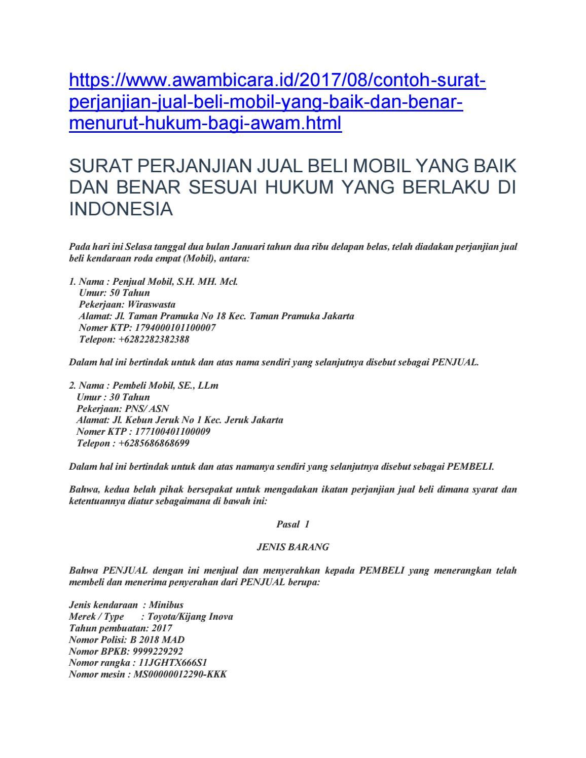 Perjanjian Jual Beli Mobil By Netizen Deddy Supriyadi Issuu