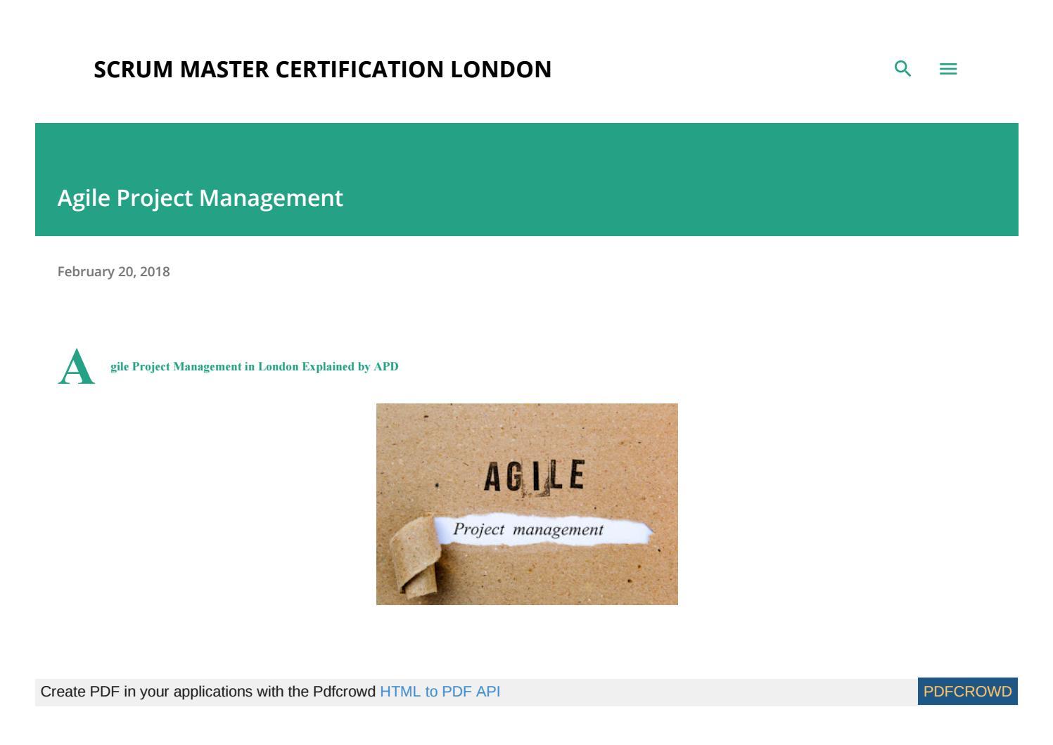 Agile Scrum Project Management Certification agile scrum project management londonadvanced product