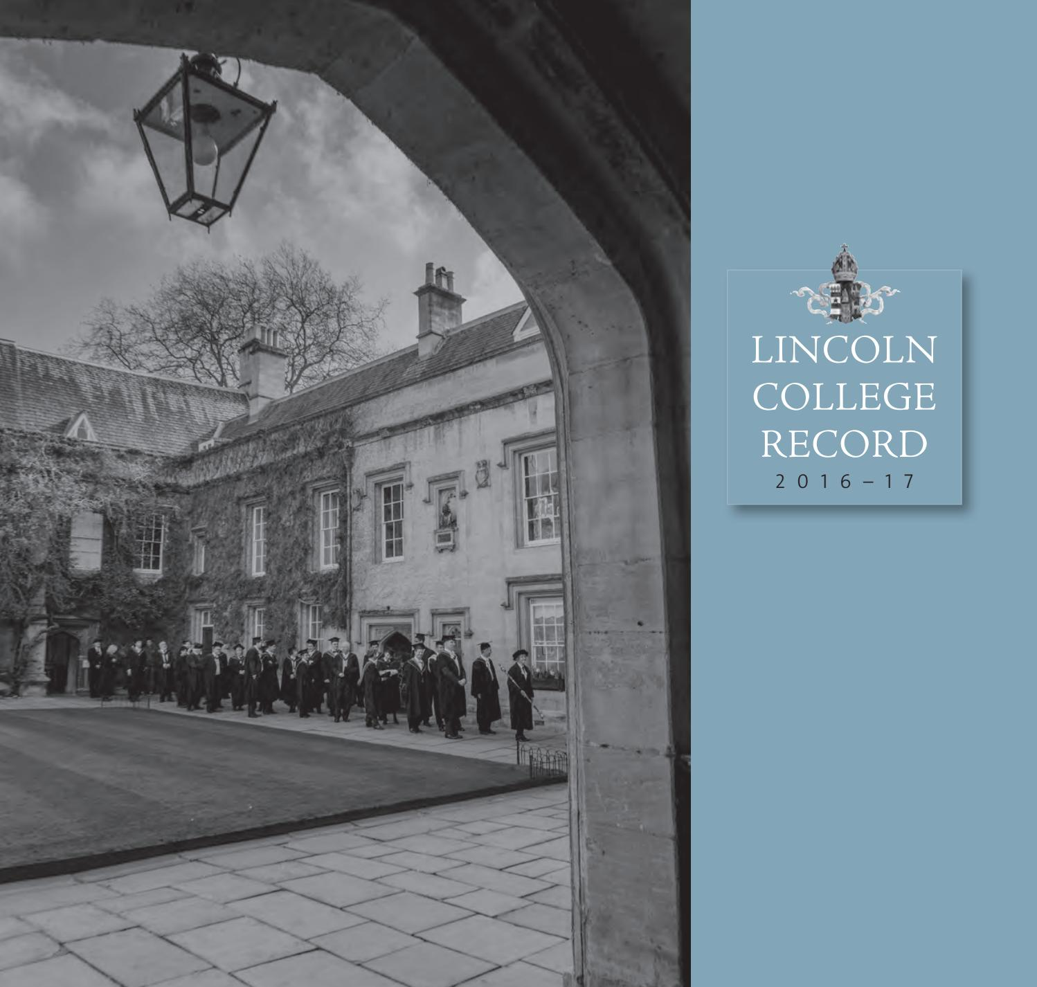 Lincoln Record (2017) by Lincoln College - issuu