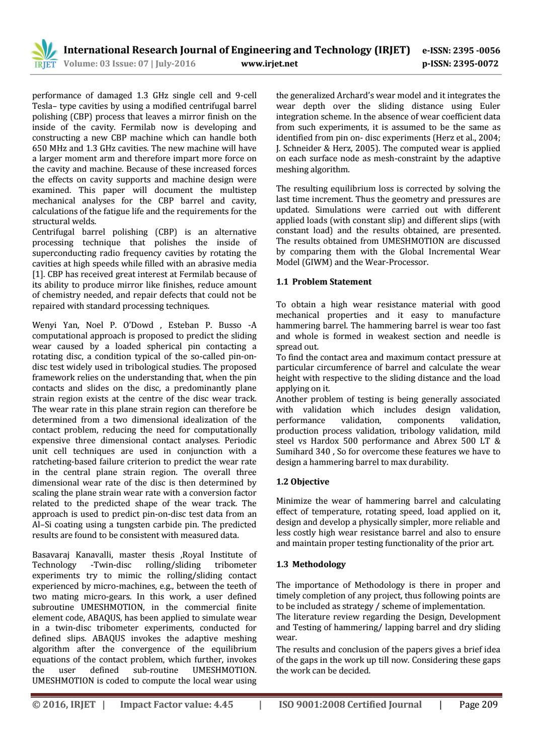 IRJET-Optimization of Hammering Barrel for Life Enhancement by Wear