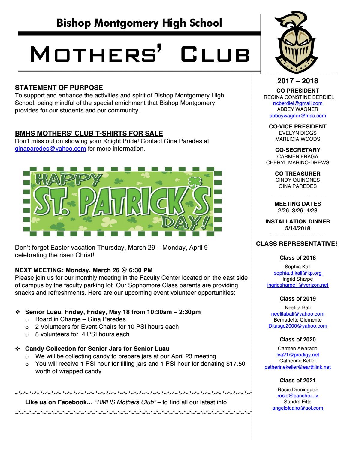 Parent Newsletter March 2018