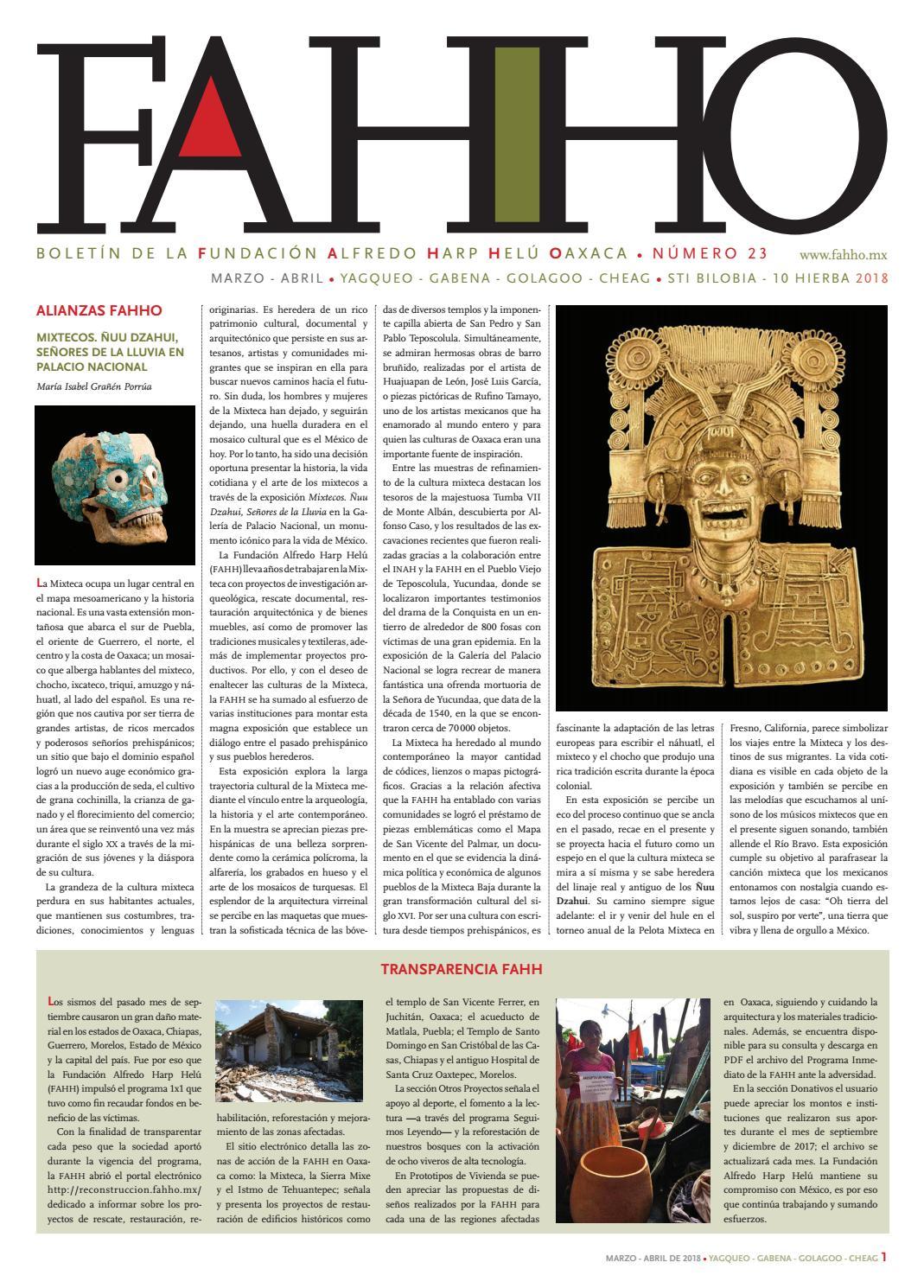 c9bc12bf485c Boletín FAHHO mar - abr 2018 by Fundación Alfredo Harp Helú Oaxaca ...