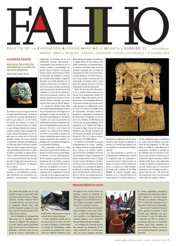 Boletín FAHHO mar - abr 2018 by Fundación Alfredo Harp Helú Oaxaca ...