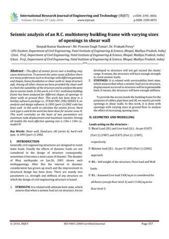 IRJET-Seismic analysis of an R C  multistorey building frame
