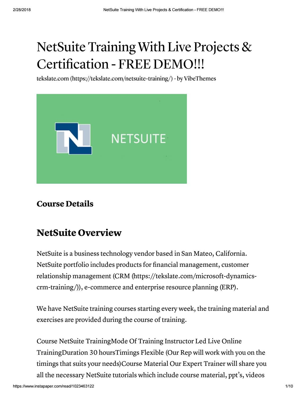 Netsuite Training With Live Projects Certification Free Demo By