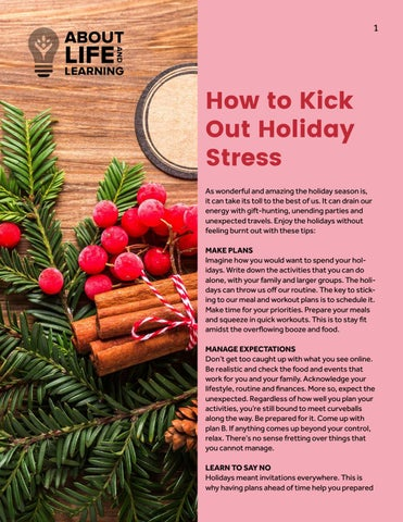 How to kick out holiday stress by About Life and Learning - issuu