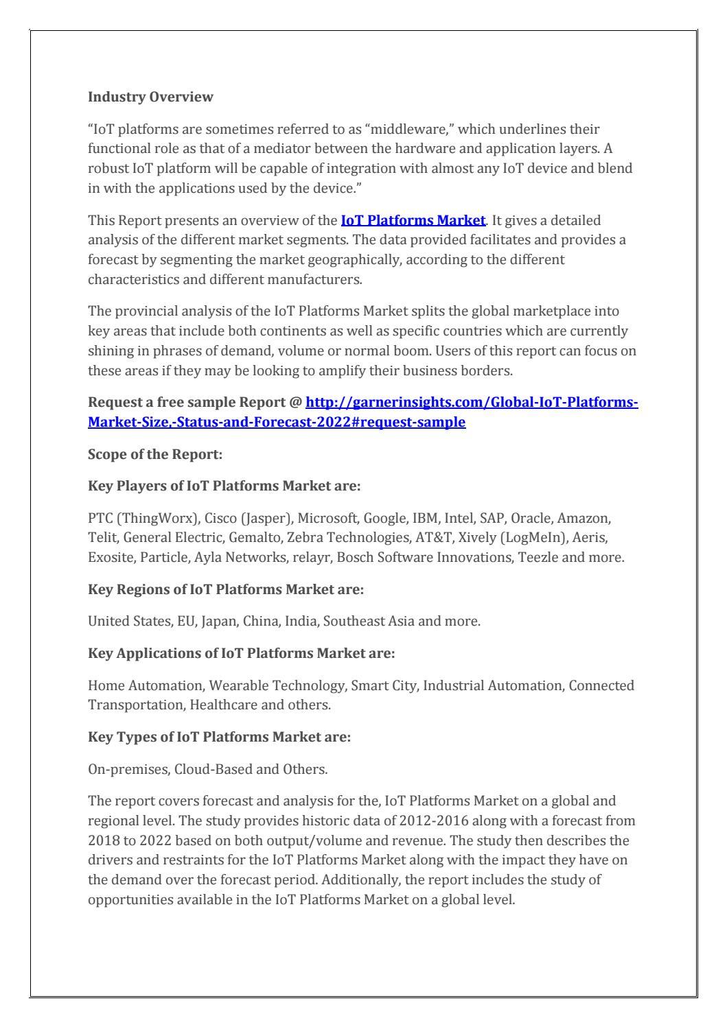 Global iot platforms market intelligence report 2018 by Gordon