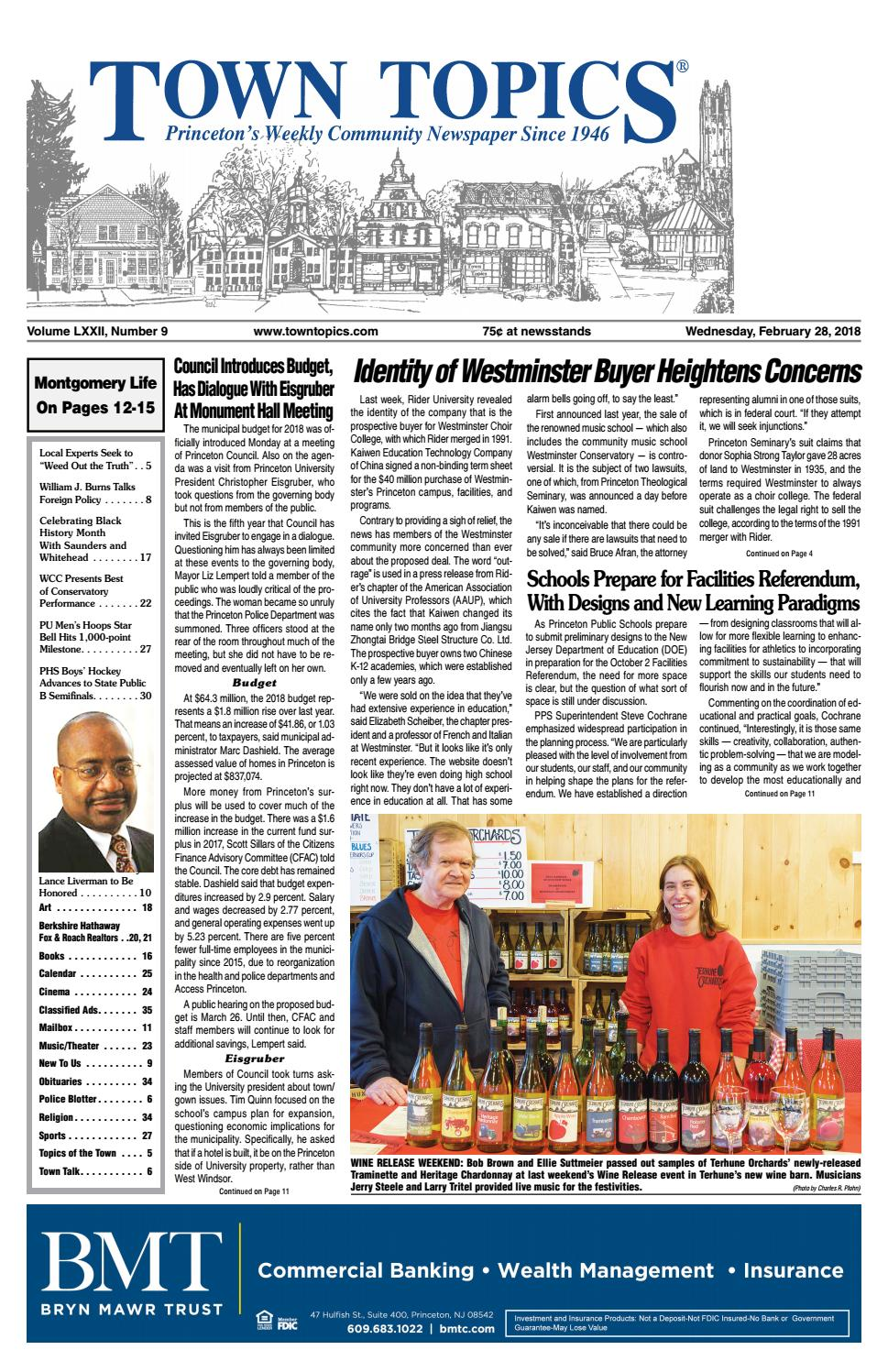 Town Topics Newspaper February 28, 2018 by Witherspoon Media