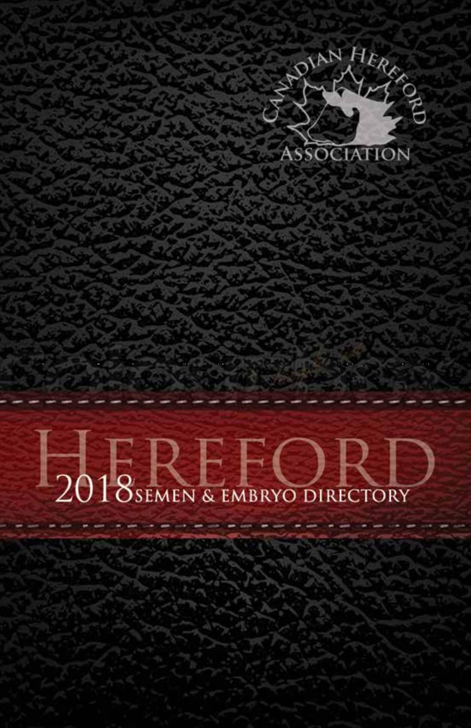2018 Semen & Embryo Directory by Canadian Hereford