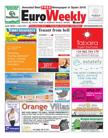 Euro weekly news costa blanca north 1 7 march 2018 issue 1704 by page 1 fandeluxe Gallery