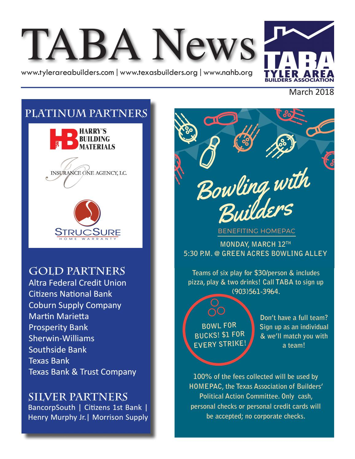 Newsletter March 18 By Tyler Area Builders Association Issuu