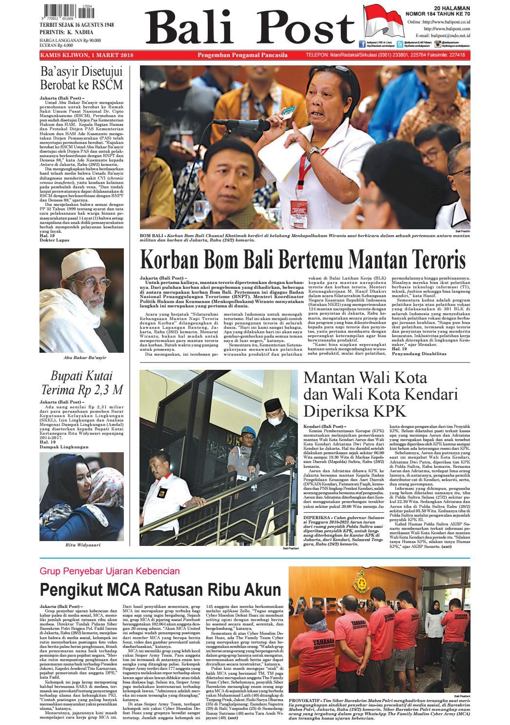 Edisi 01 Maret 2018 Balipostcom By E Paper Kmb Issuu Produk Ukm Bumn Tenun Pagatan Atasan Wanita 4