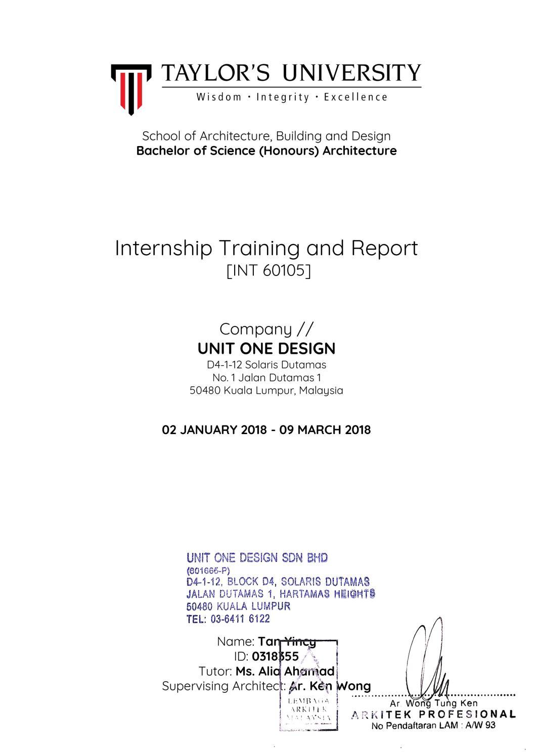 Internship Report By Yincytwk Issuu