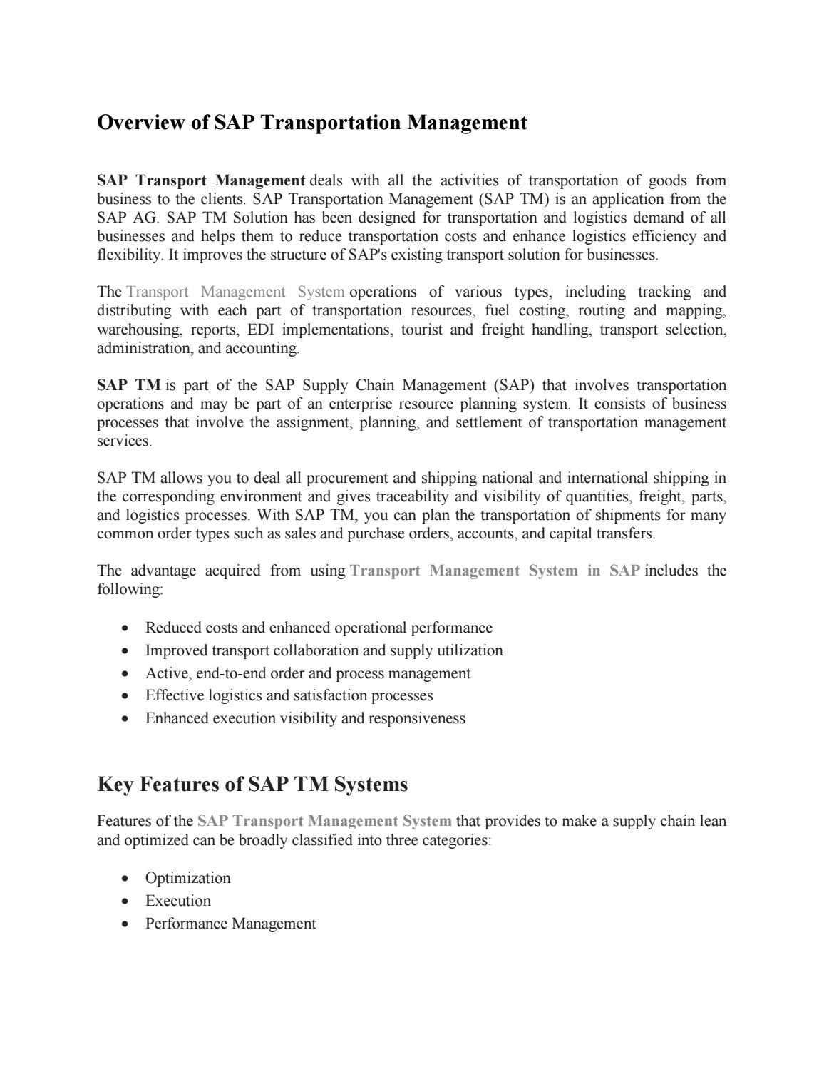 SAP TM Training Material PDF by amrutasapvits - issuu