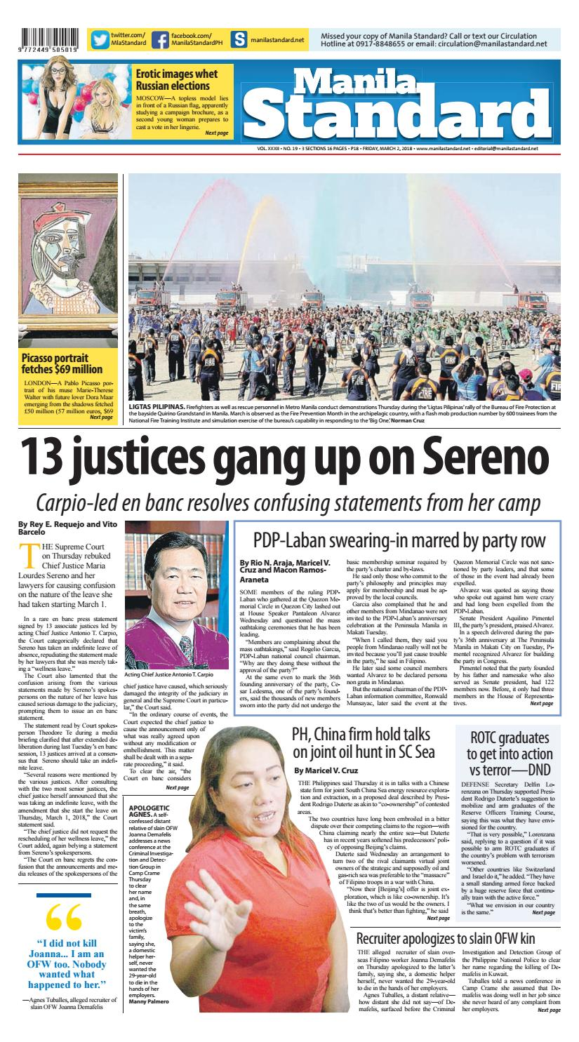 Manila Standard - 2018 March 02 - Friday by Manila Standard