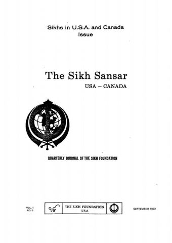 the sikh sansar usa canada vol 1 no 3 september 1972 sikhs in usa and canada issue i