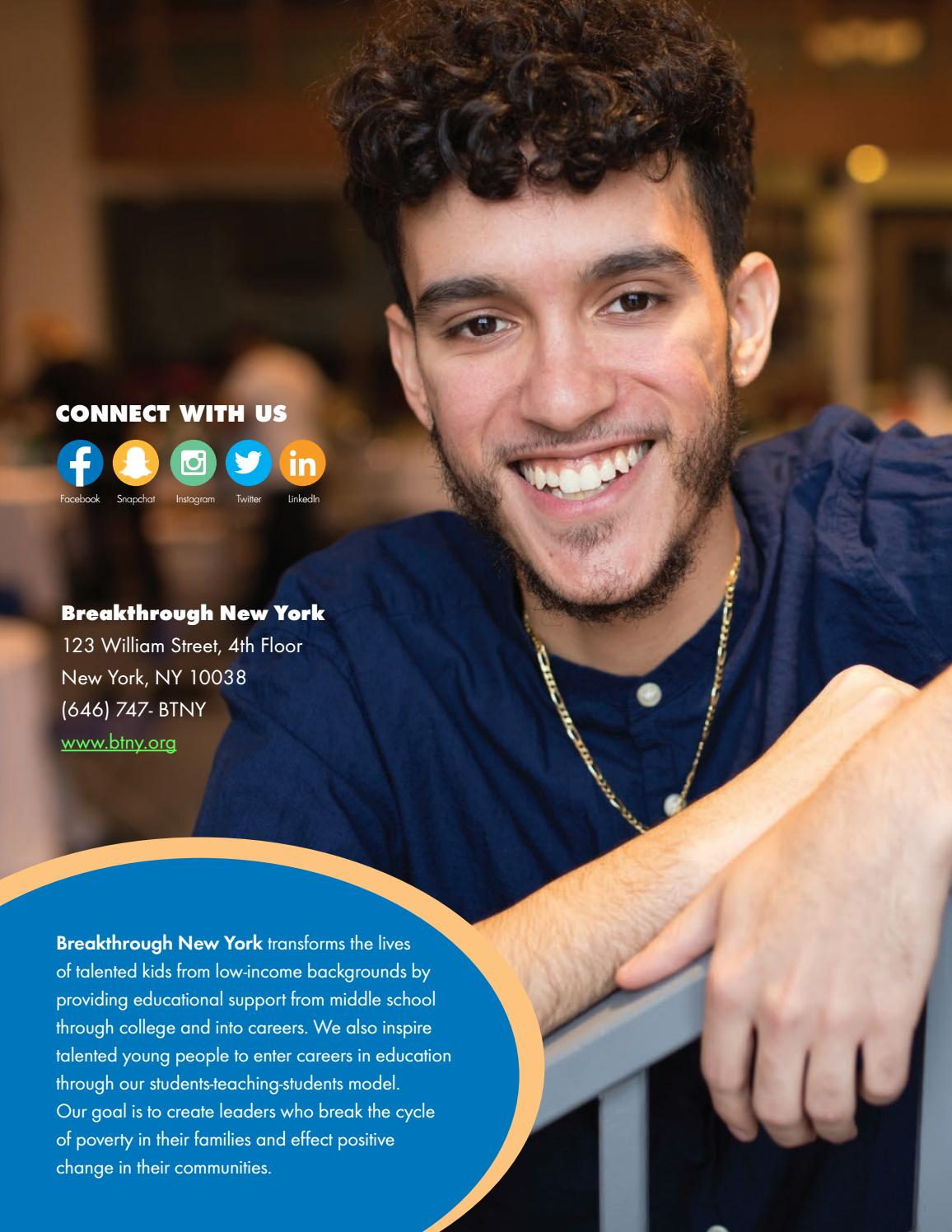 How Talented Kids From Low Income >> Fy2017 Gratitude Report By Breakthrough New York Issuu