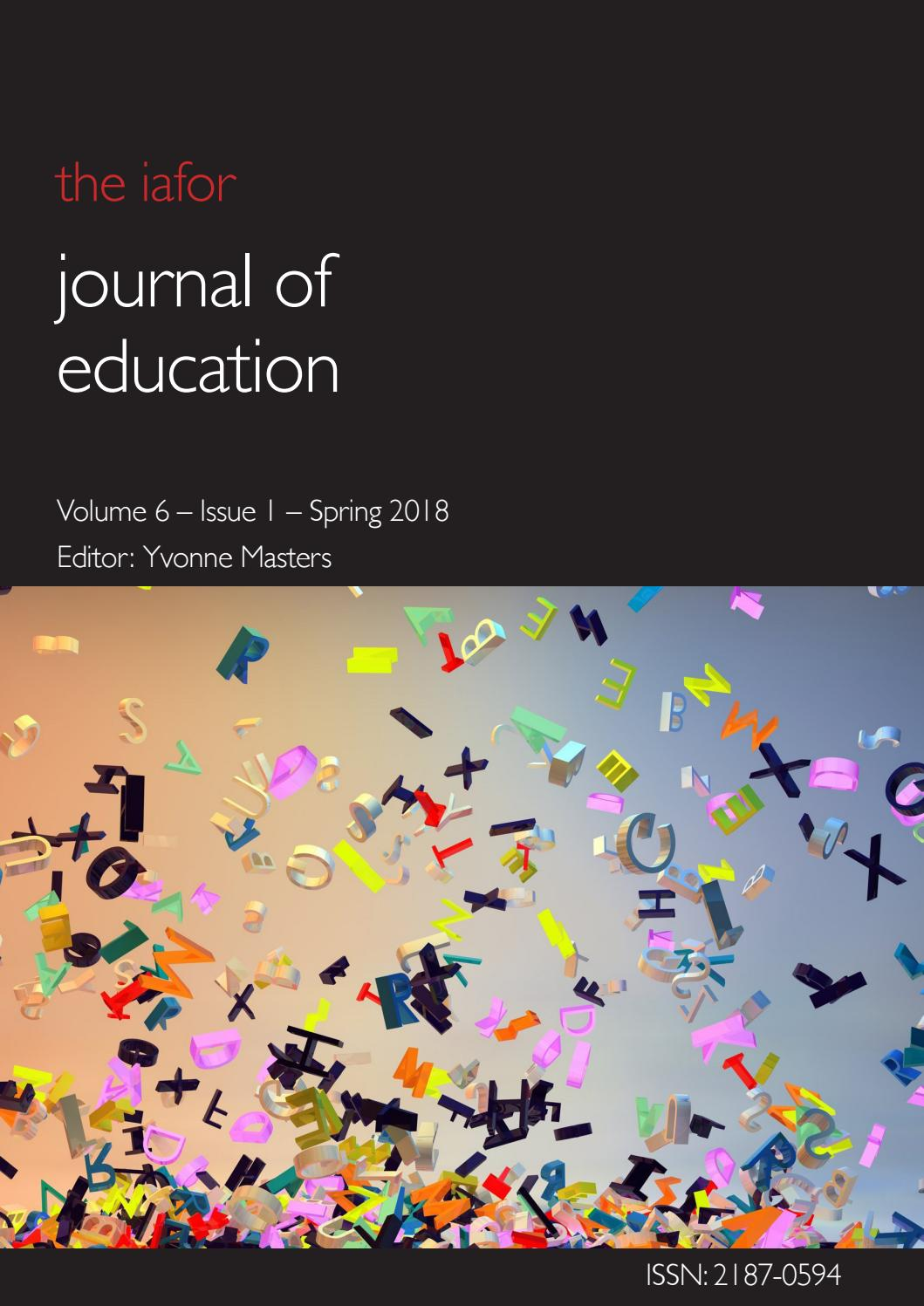 Iafor Journal Of Education Volume 6 Issue 1 Spring 2018 By Iafor Issuu