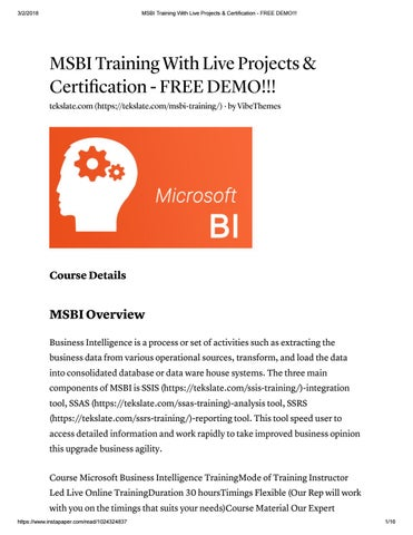 Msbi training with live projects & certification free demo!!! by