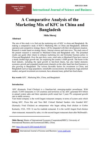 What is the competitive advantage of kentucky fried chicken