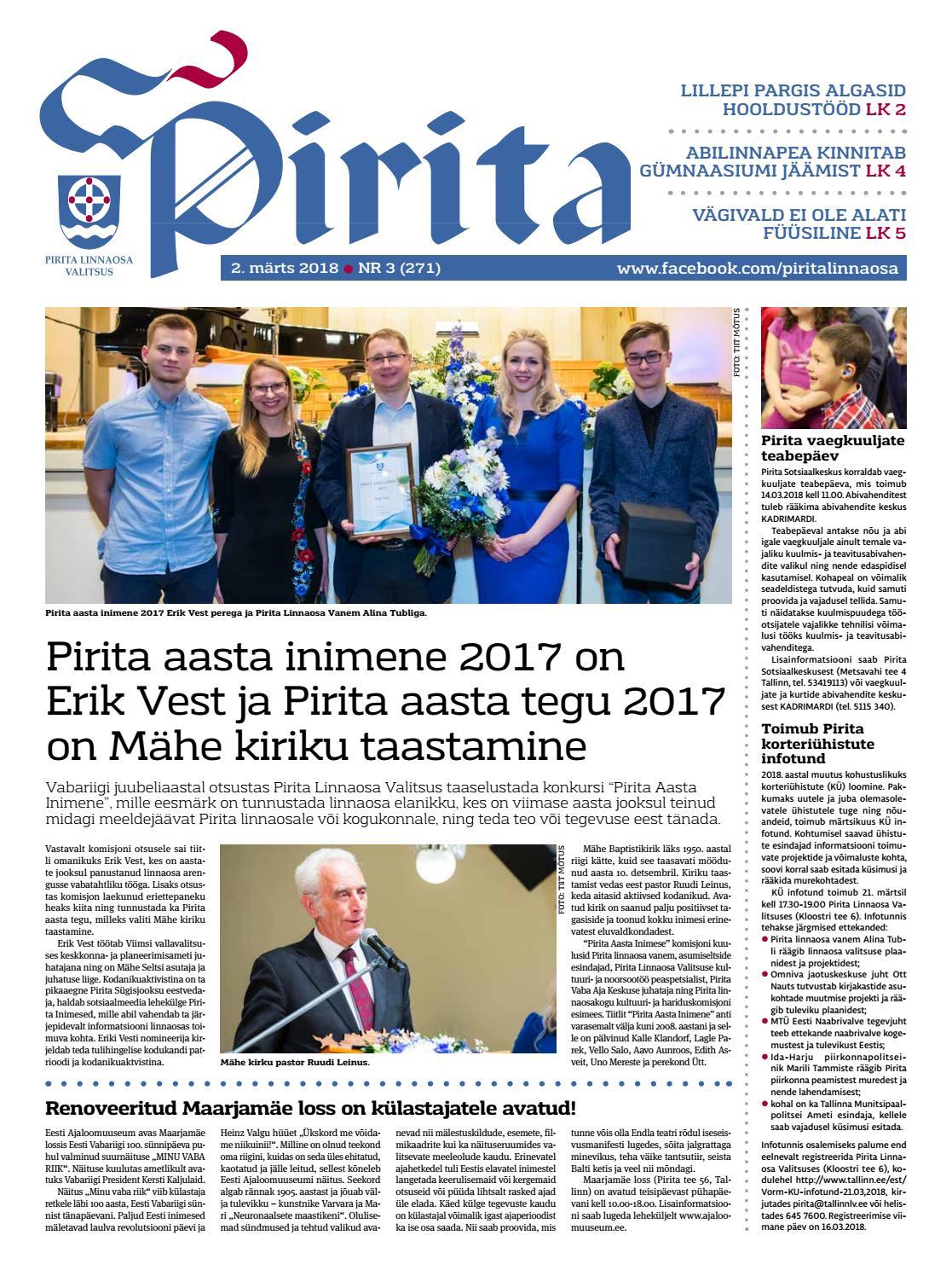 638966b6eb7 Pirita ajaleht 2. märts 2018 by Piritalinnaosavalitsus - issuu